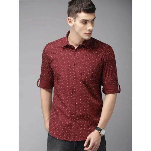 HERE&NOW Men Maroon & White Slim Fit Printed Casual Shirt