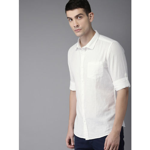 HERE&NOW Men White Slim Fit Solid Casual Shirt