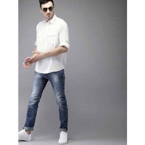HERE&NOW Men White Solid Casual Shirt