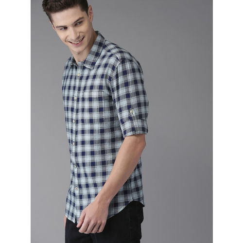HERE&NOW Men Navy Blue Slim Fit Checked Casual Shirt