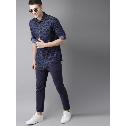 HERE&NOW Men Blue Slim Fit Printed Casual Chambray Shirt