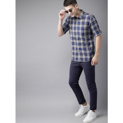 HERE&NOW Men Blue & Grey Slim Fit Checked Casual Shirt