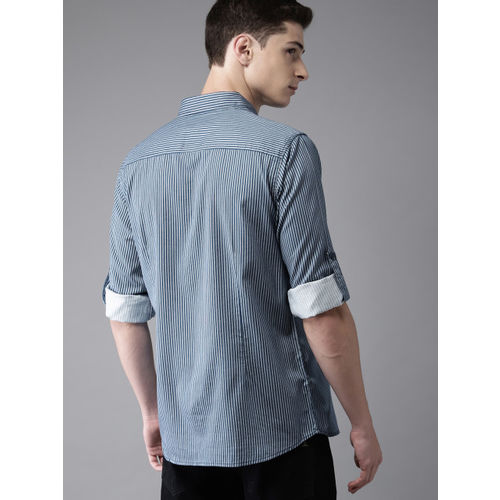 HERE&NOW Men Blue Regular Fit Striped Casual Shirt