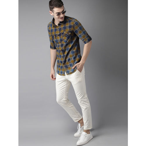 HERE&NOW Men Khaki Brown & Navy Blue Slim Fit Checked Casual Shirt