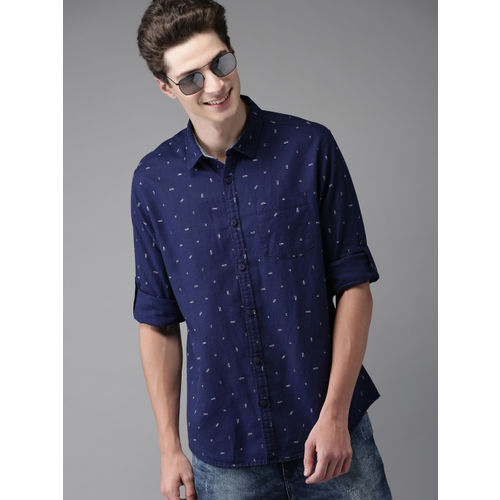 HERE&NOW Men Navy Blue Regular Fit Printed Casual Shirt