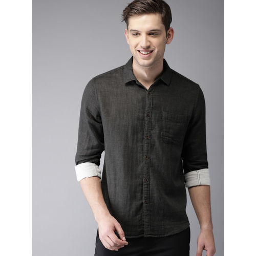 HERE&NOW Men Charcoal Grey Regular Fit Solid Casual Shirt