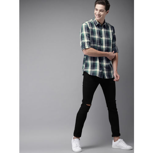 HERE&NOW Men Grey & Green Regular Fit Checked Casual Shirt