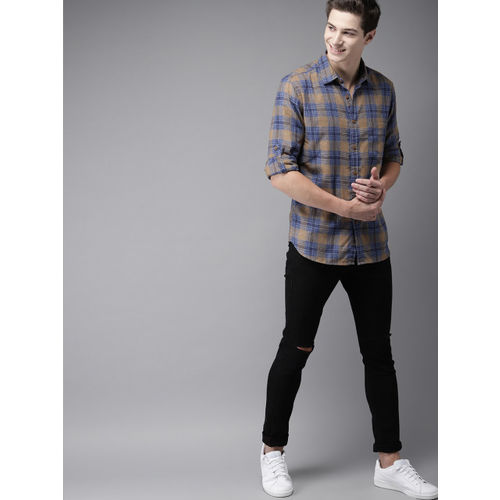 HERE&NOW Men Blue & Brown Regular Fit Checked Casual Shirt