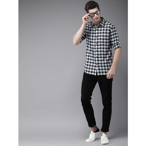 HERE&NOW Men Navy Blue & Grey Slim Fit Checked Casual Shirt