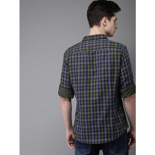 HERE&NOW Men Green & Navy Blue Regular Fit Checked Casual Shirt