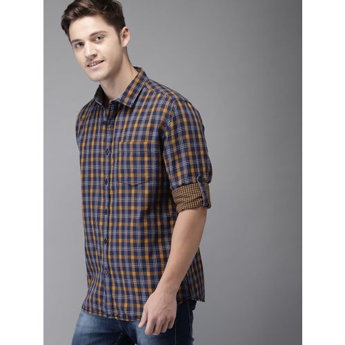 HERE&NOW Men Navy Blue & Mustard Yellow Regular Fit Checked Casual Shirt