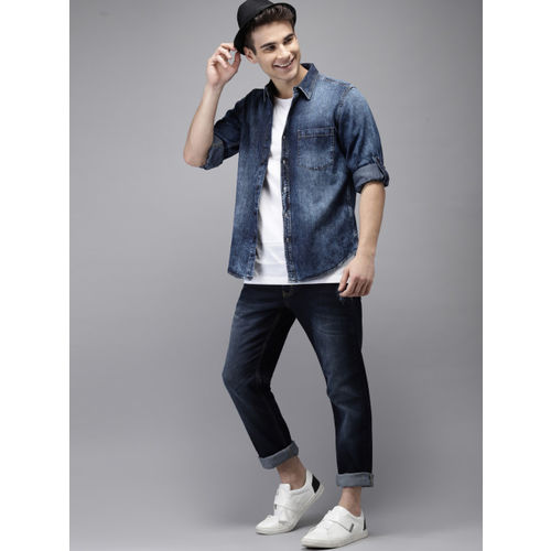 HERE&NOW Men Blue Faded Regular Fit Casual Chambray Shirt
