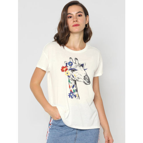 ONLY Women White Printed Round Neck T-shirt