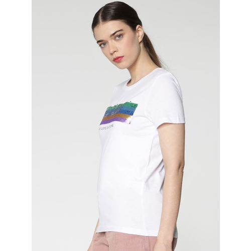 ONLY Women White Self Design Round Neck T-shirt