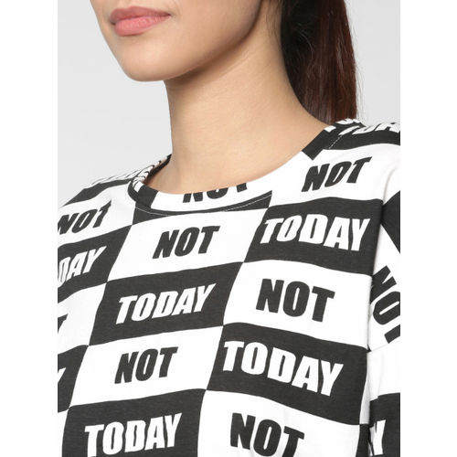 ONLY Women White & Black Printed Round Neck T-shirt