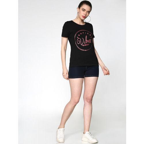 ONLY Women Black Printed Round Neck T-shirt