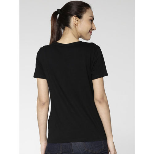 ONLY Women Black Printed Round Neck T-shirt