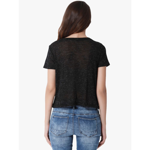 ONLY Black Printed Round Neck T-Shirt
