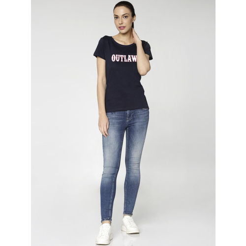 ONLY Women Navy Blue Printed Round Neck T-shirt