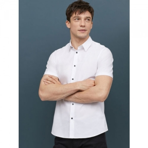 H&M Men White Solid Cotton Shirt Muscle Fit