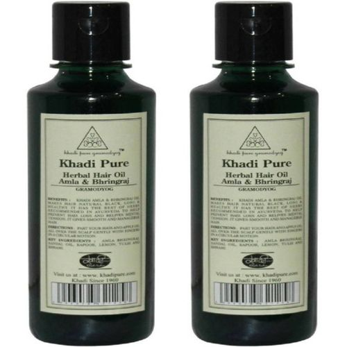 Khadi Pure Herbal Amla and Bhringraj hair oil (Pack Of 2) Hair Oil(420 ml)
