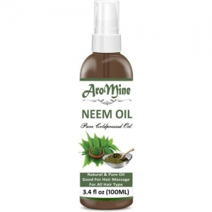 Aromine Neem Oil - 100% Pure Natural Oil & Undiluted Cold Pressed Refined Cosmetic Grade For Aromatherapy, Skin Treatment, Hair Care, Face (100 ml) (100 ml)