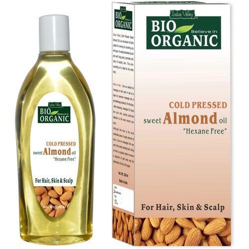 Indus Valley Bio Organic Cold Pressed Sweet Almond Oil Hair Oil(200 ml)