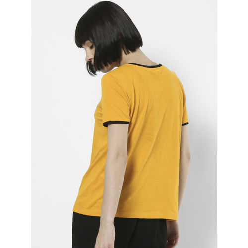 ONLY Women Mustard Yellow & Black Printed Round Neck T-shirt