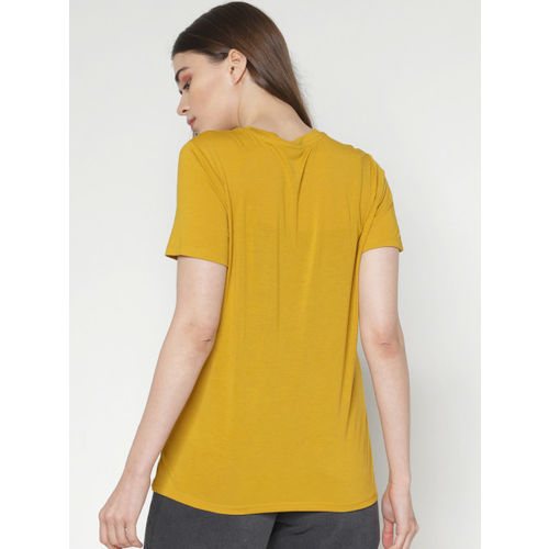 ONLY Women Mustard Printed Round Neck T-shirt