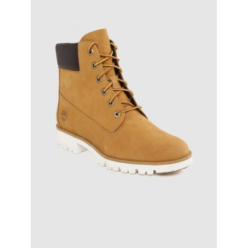 Timberland Mustard Brown Solid Mid-Top Nubuck Flat Boots