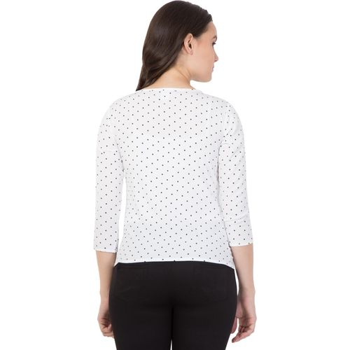 Ananya Collections Casual 3/4 Sleeve Polka Print Women White Top