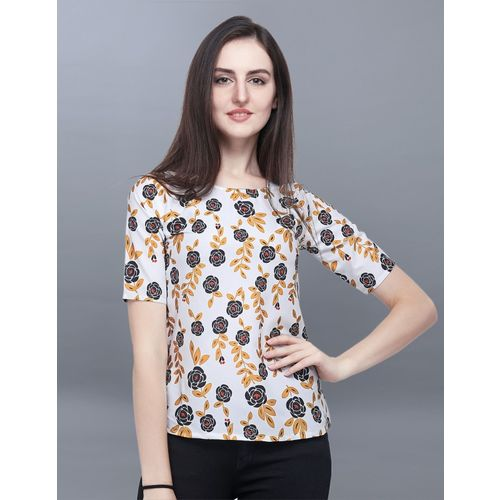 Selvia Casual Half Sleeve Floral Print Women Multicolor Top
