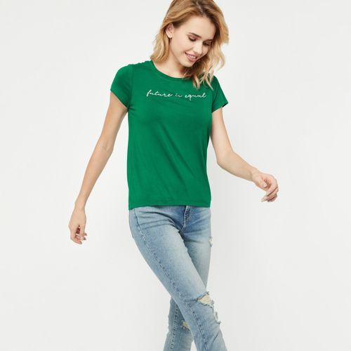 Fame Forever by Lifestyle Casual Half Sleeve Jacquard Women Green Top