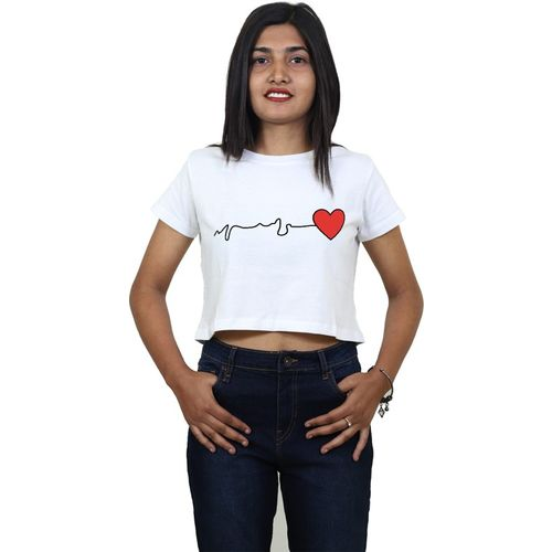 Tees World Casual Short Sleeve Graphic Print Women White Top
