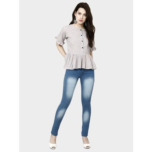 DIEGO Casual Half Sleeve Solid Women Grey Top