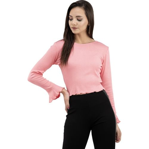 FAIRIANO Casual Bell Sleeve Solid Women Pink Top