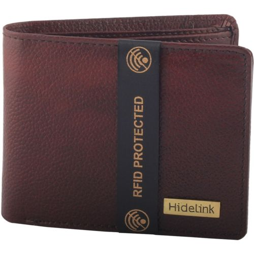 Hidelink Men Brown Genuine Leather Wallet(7 Card Slots)