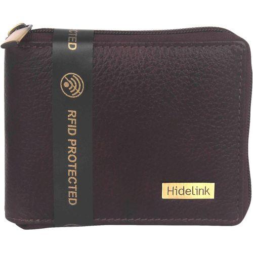 Hidelink Men Brown Genuine Leather Wallet(7 Card Slots)