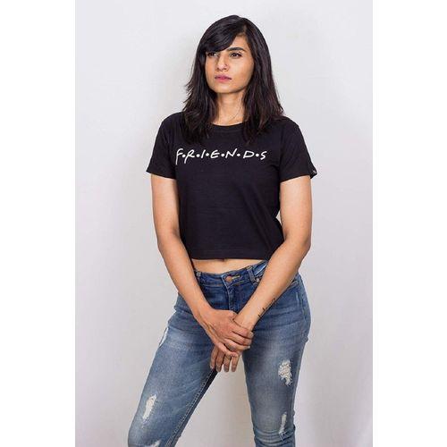 Voguish Attitude Casual Half Sleeve Printed Women Black Top