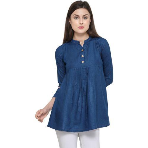 Saara Formal 3/4 Sleeve Solid, Dyed Women Dark Blue Top