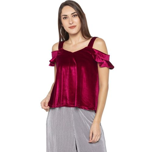 Globus Party Flutter Sleeve Solid Women Red Top