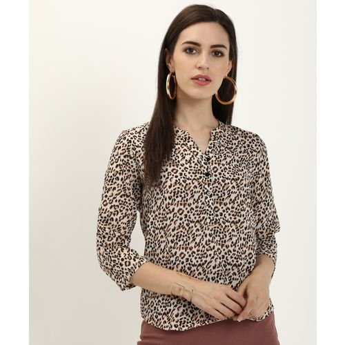 Provogue Casual Roll-up Sleeve Animal Print Women Black, Beige Top