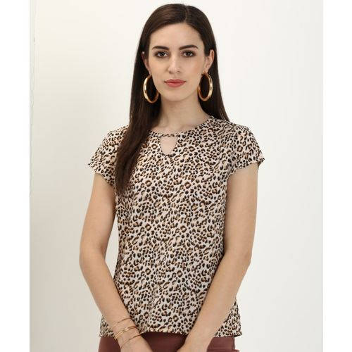 Provogue Casual Short Sleeve Animal Print Women Black, Beige Top