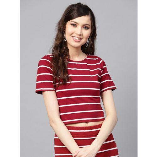 Sassafras Casual Short Sleeve Striped Women Maroon Top