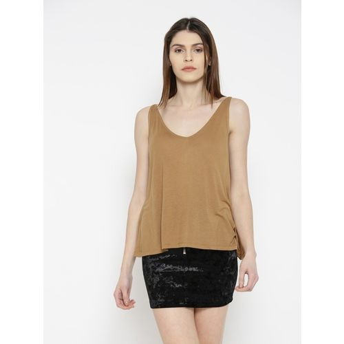 FOREVER 21 Casual Sleeveless Solid Women Yellow Top