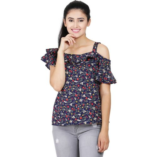 Galaxy Trendz Casual Bell Sleeve Floral Print Women Multicolor, Blue Top