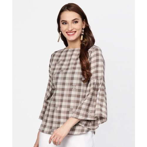 Jaipur Kurti Casual 3/4 Sleeve Checkered Women Brown Top