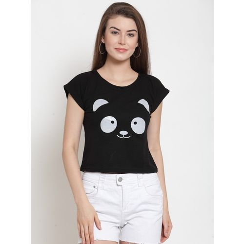 Everlush Casual Short Sleeve Graphic Print Women Black Top