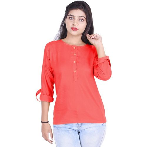 Sparkle Collection Casual Roll-up Sleeve Solid Women Pink Top