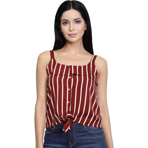 Chimpaaanzee Casual Sleeveless Striped Women Red Top
